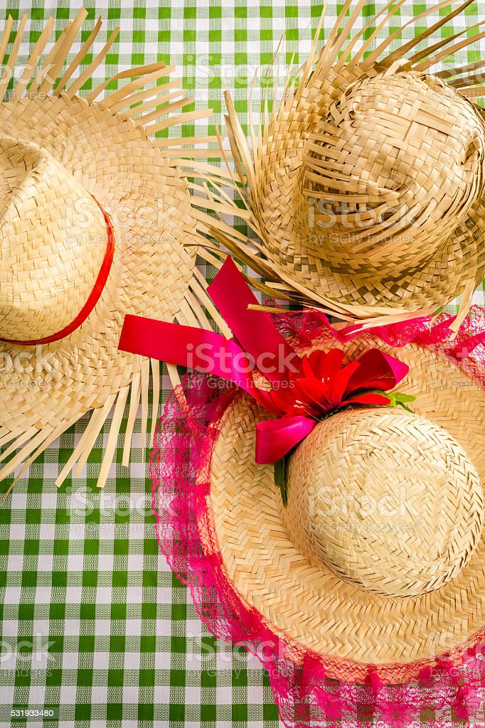 Straw Hats on the table for the Junina Party stock photo