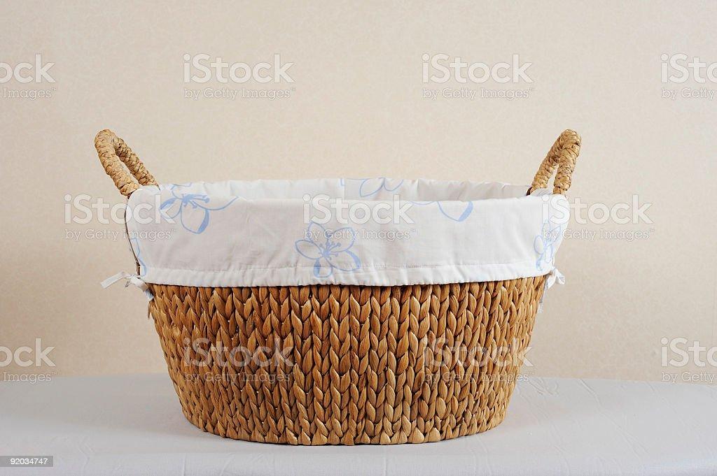 Straw laundry basket stock photo