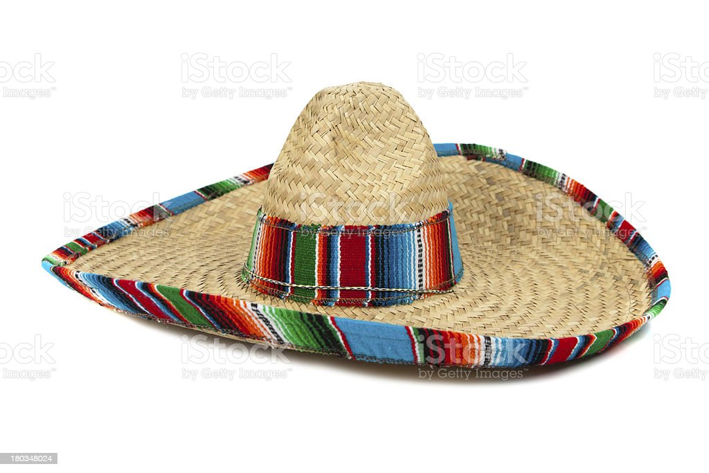 Straw Mexican Sombrero on white background stock photo