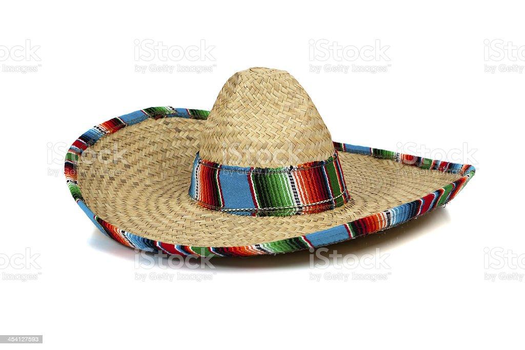 Straw Mexican Sombrero on white background royalty-free stock photo