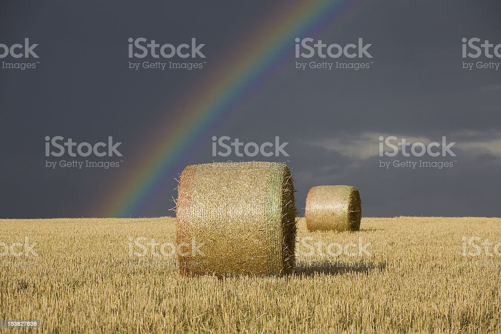 Straw or Hay bales with moody sky and rainbow royalty-free stock photo
