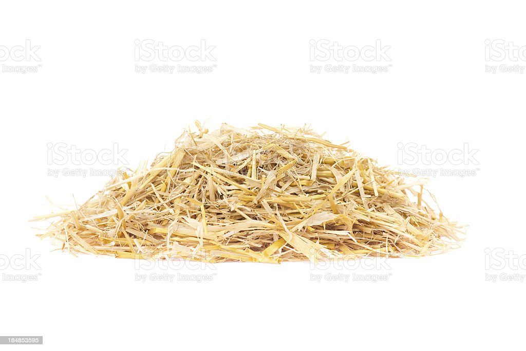Straw pile isolated on white stock photo