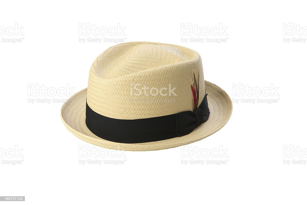 Straw Pork Pie Hat royalty-free stock photo