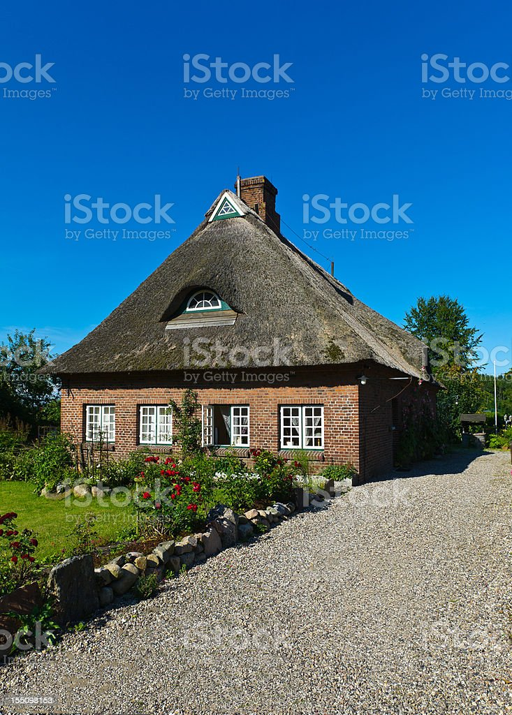 Straw Roof Housre in Schleswig Holstein at the Schlei stock photo