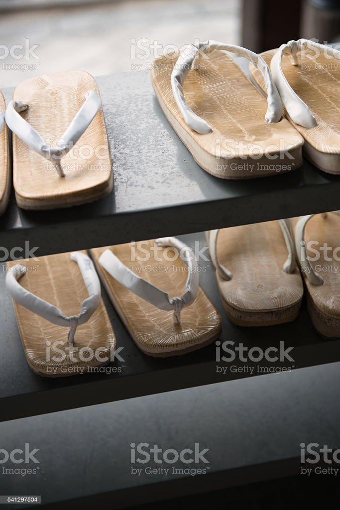 Straw sandals of trainee monk stock photo