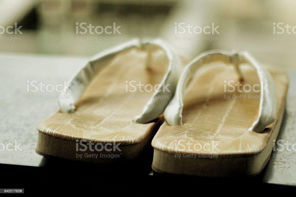 Straw sandals stock photo