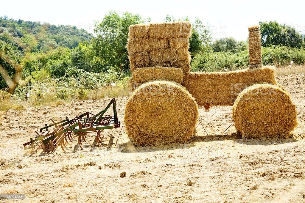 Straw tractor royalty-free stock photo
