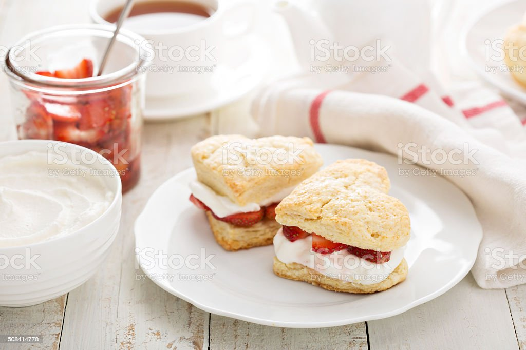 Strawbbery shortcakes with whipped cream stock photo