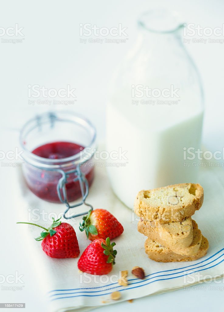 strawberries and biscotti snack royalty-free stock photo