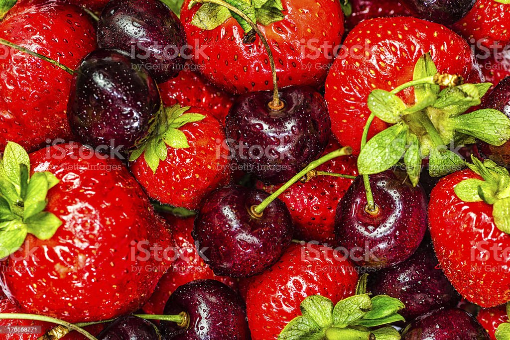 Strawberries and Cherries stock photo