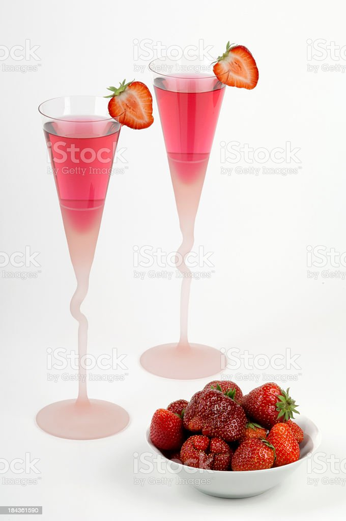 Strawberries and pink champagne royalty-free stock photo