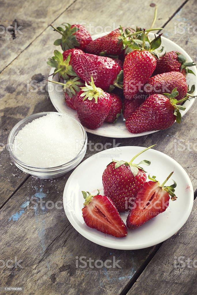 strawberries and sugar royalty-free stock photo