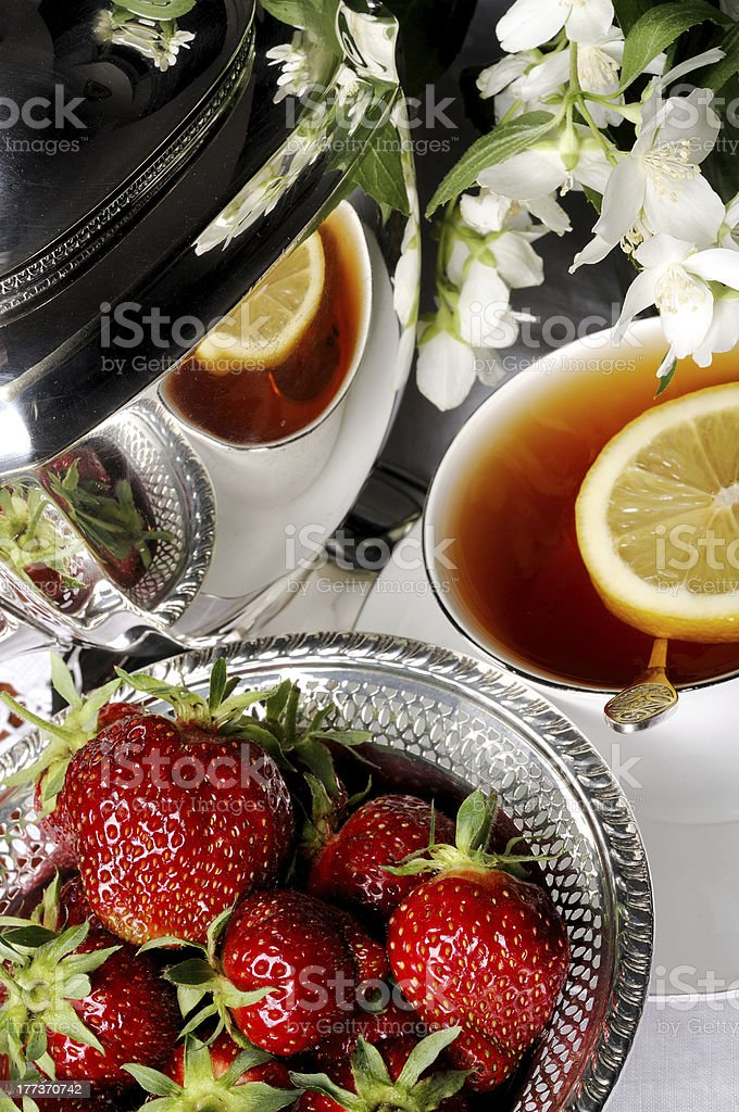Strawberries and Tea royalty-free stock photo
