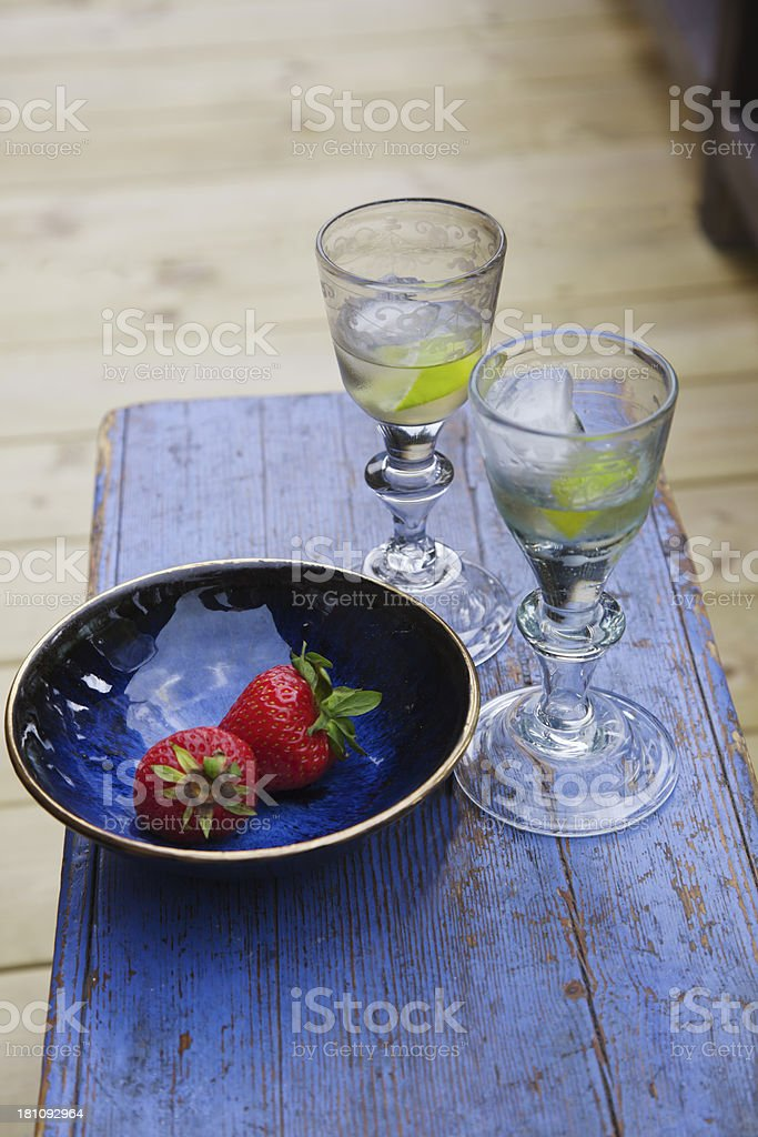 Strawberries and wine. royalty-free stock photo