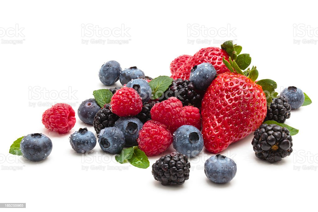 Strawberries, blackberries and blueberries stock photo