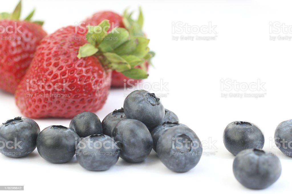 strawberries & blue berries stock photo
