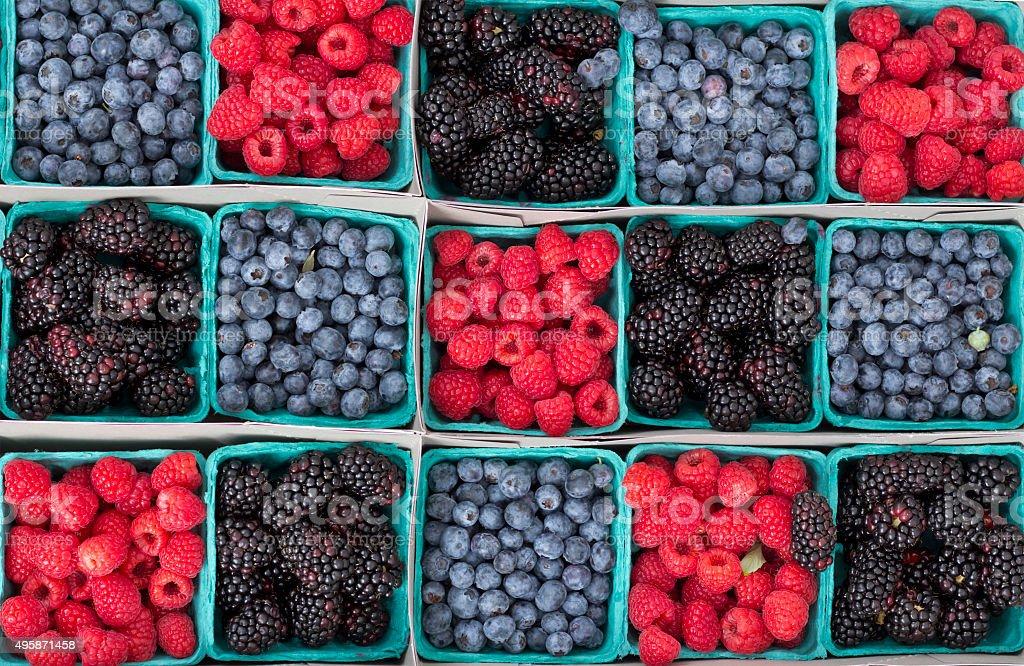 Strawberries Blueberries Blackberries stock photo