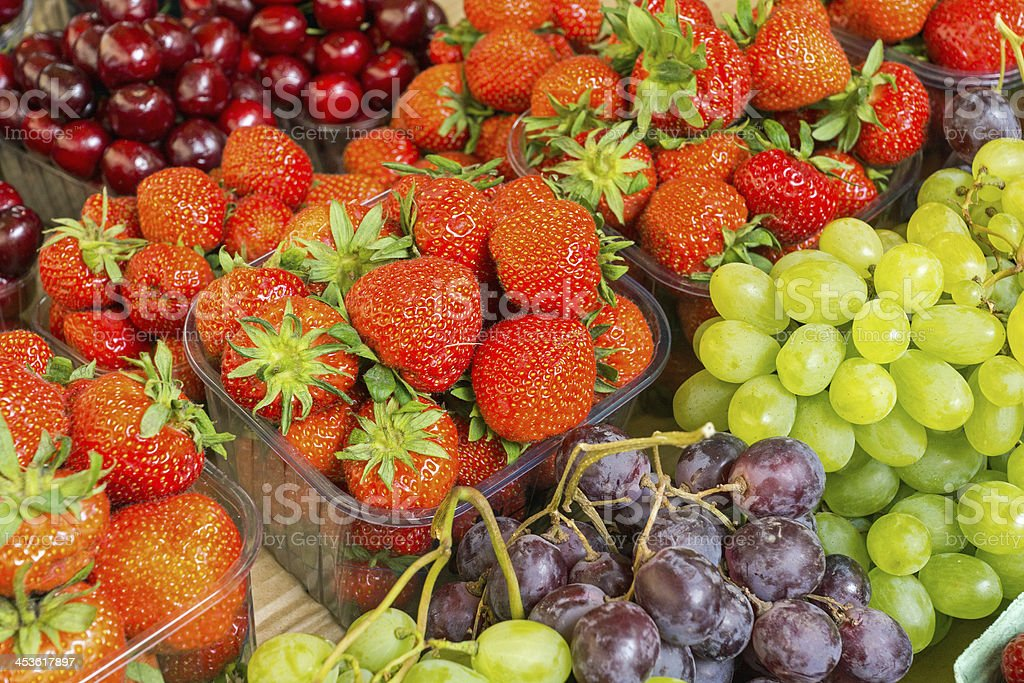 Strawberries, cherries and grapes royalty-free stock photo