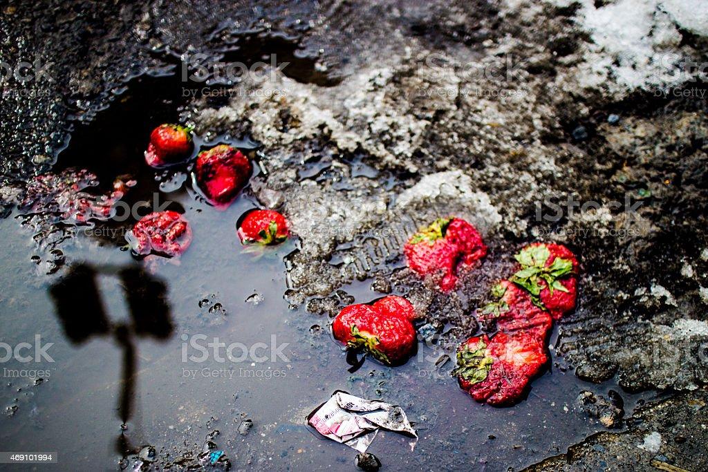 Strawberries crushed stock photo