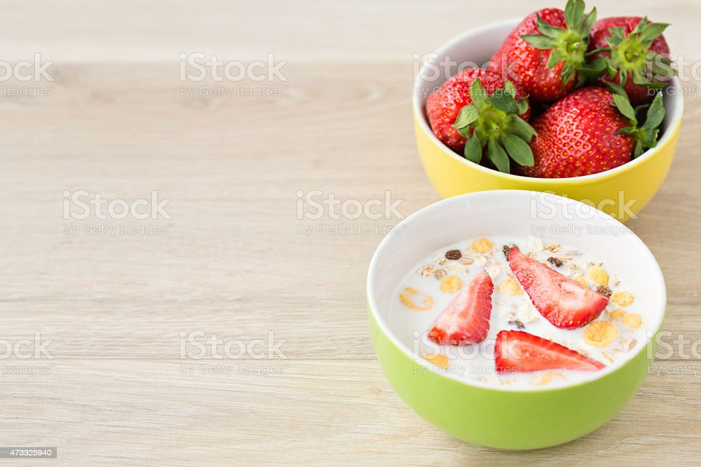 Strawberries for breakfast stock photo