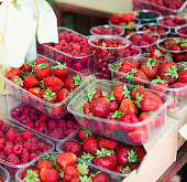 Strawberries For Sale in Market