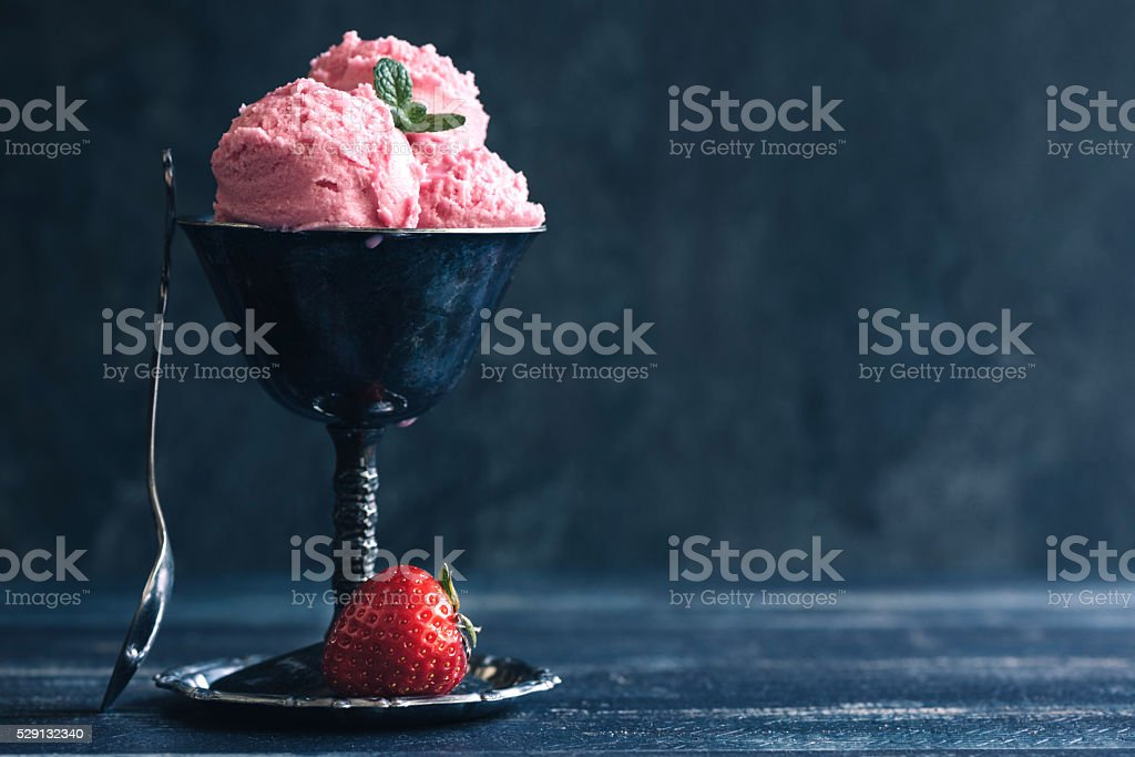 Strawberries ice cream stock photo