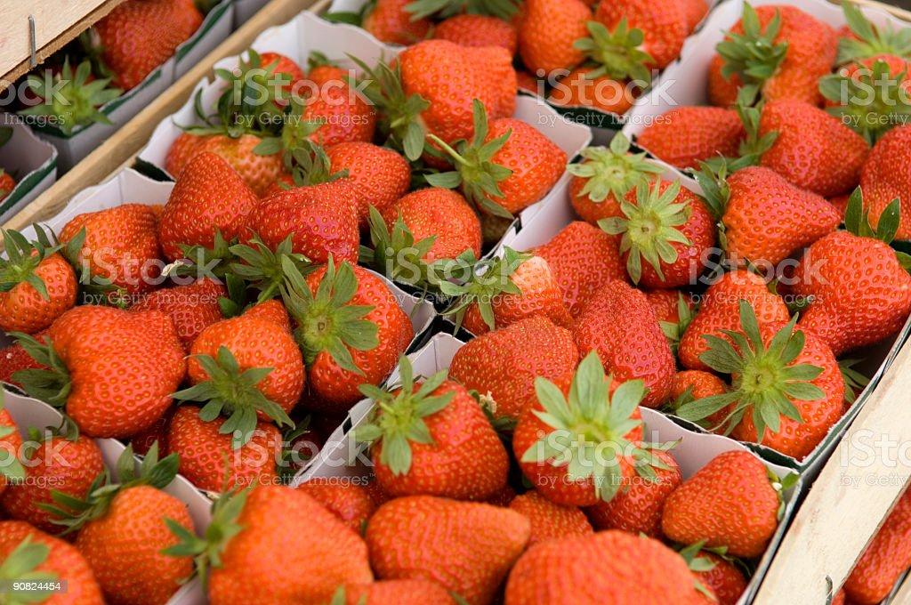 Strawberries in a basket ready for sale royalty-free stock photo