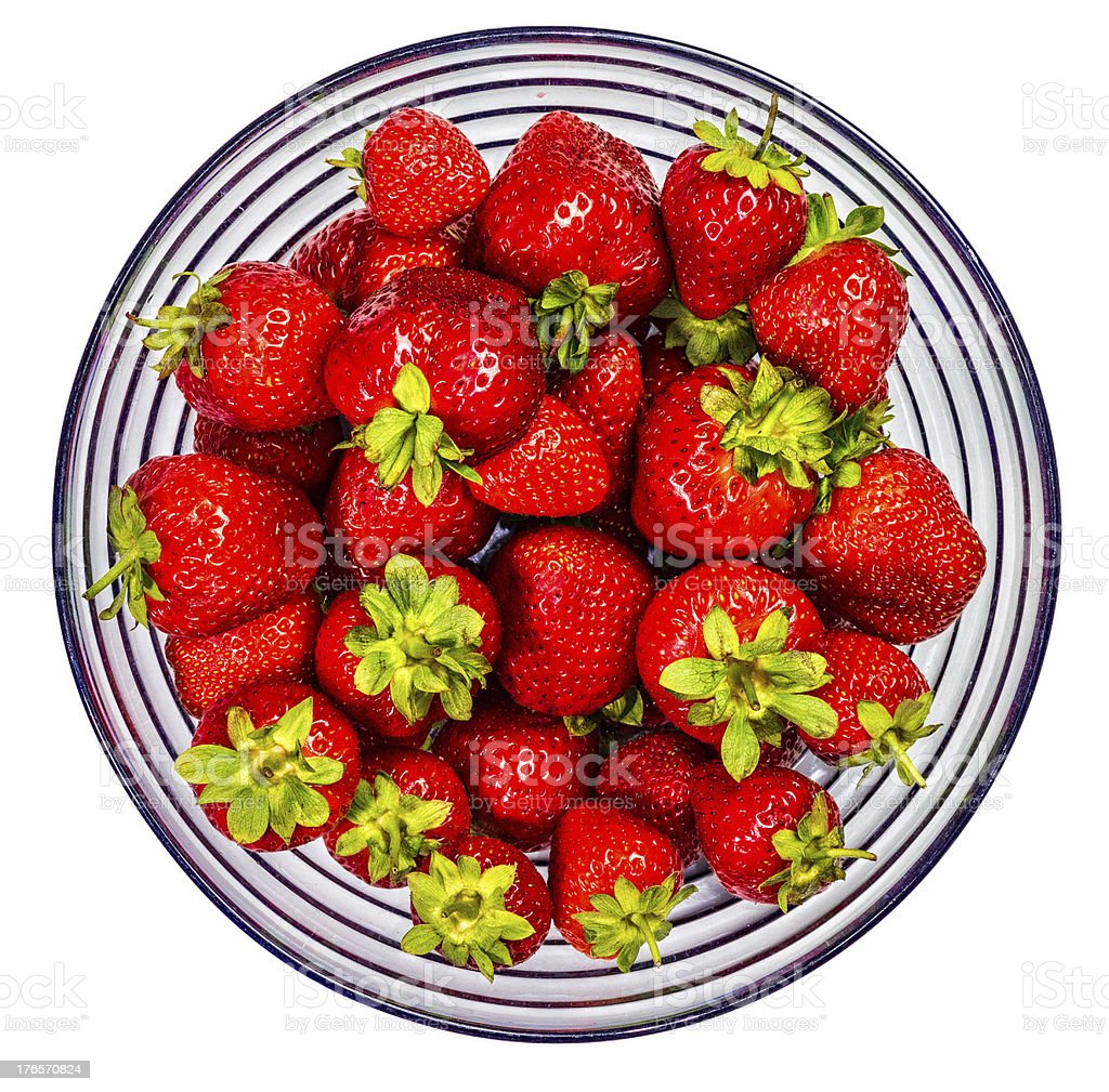 Strawberries in a Glass Bowl stock photo