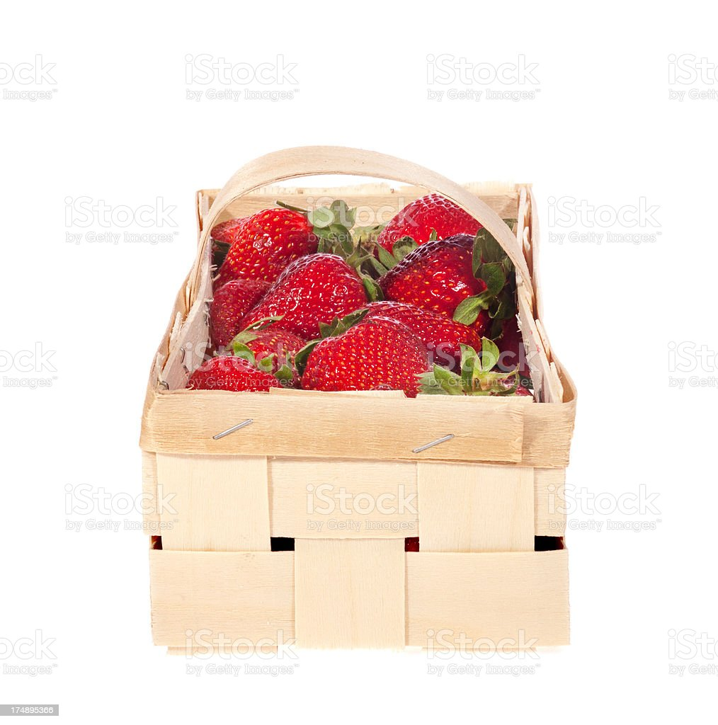 strawberries in basket royalty-free stock photo