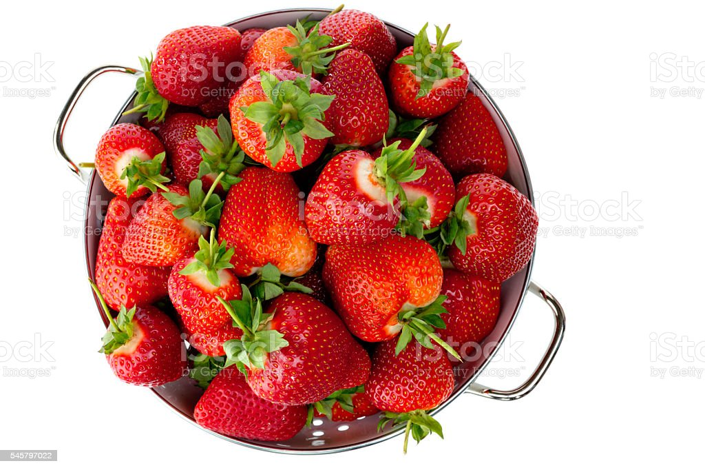 strawberries in bowl from above stock photo