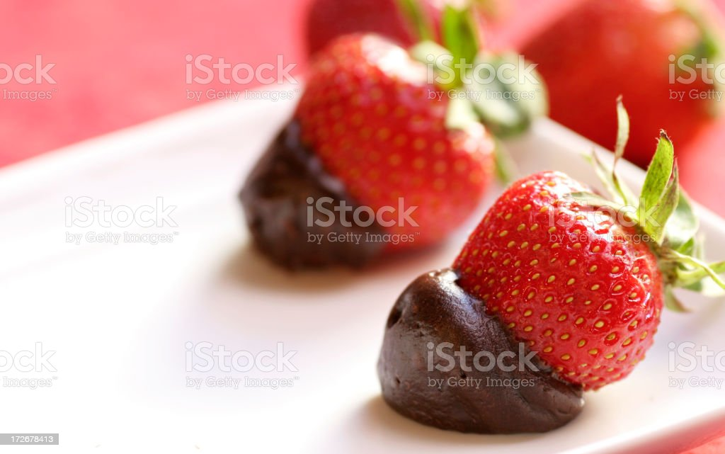 Strawberries in chocolate royalty-free stock photo