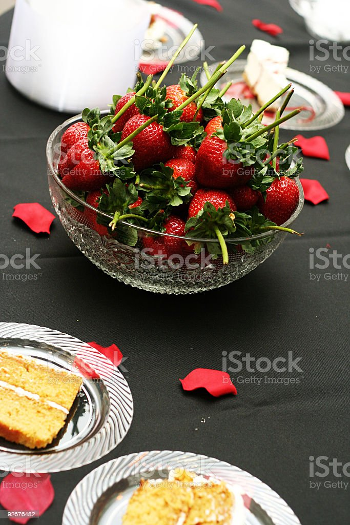 Strawberries in Glass Bowl with Cake royalty-free stock photo