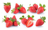 Strawberries in groups on white background