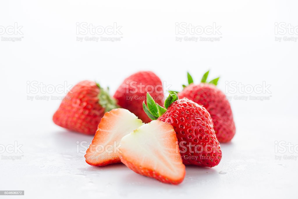 Strawberries isolated on white background stock photo