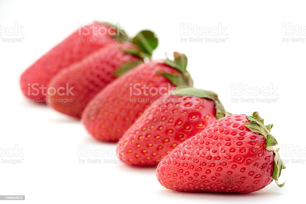 Strawberries lined up royalty-free stock photo
