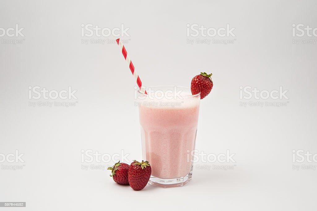Strawberries Milkshakes on white background stock photo
