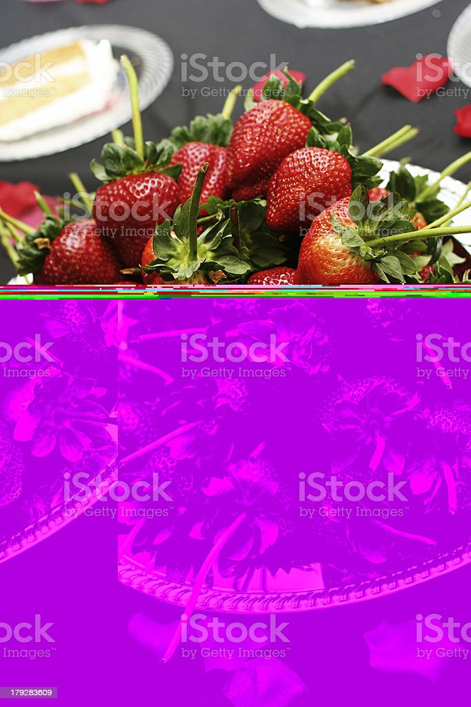 Strawberries on a Silver Platter royalty-free stock photo