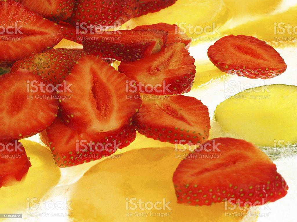 strawberries on Ice stock photo