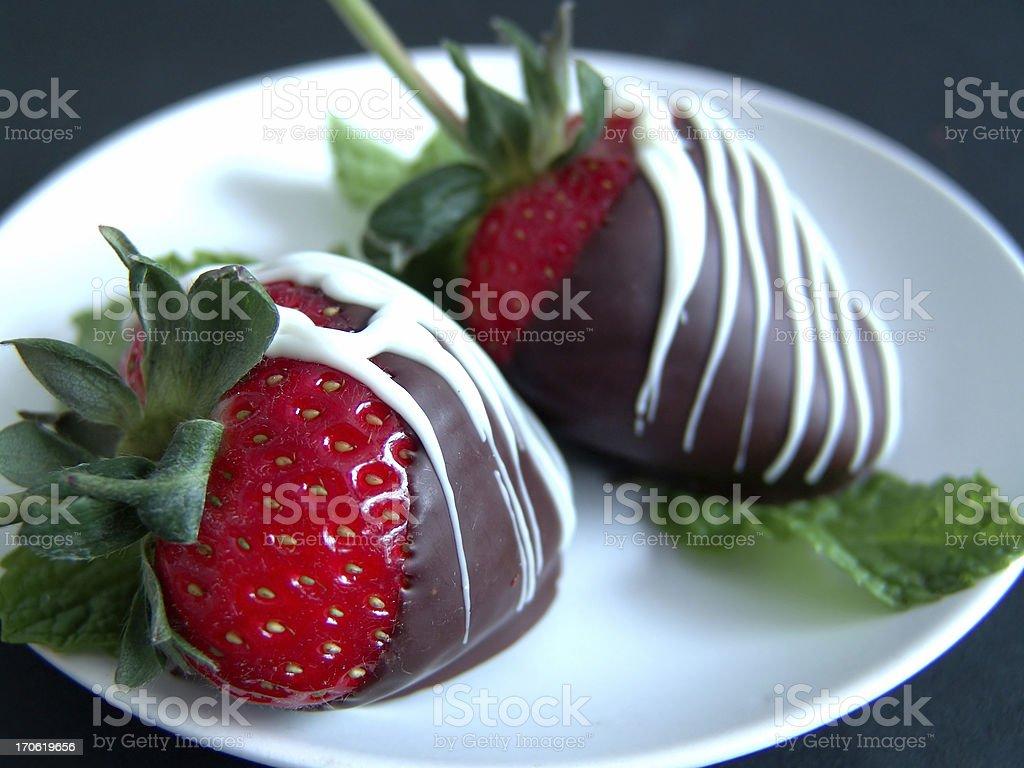 Strawberries on Mint stock photo