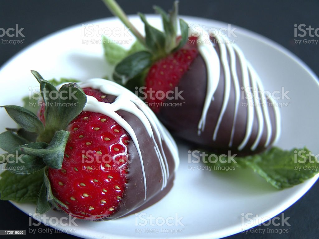 Strawberries on Mint stock photo