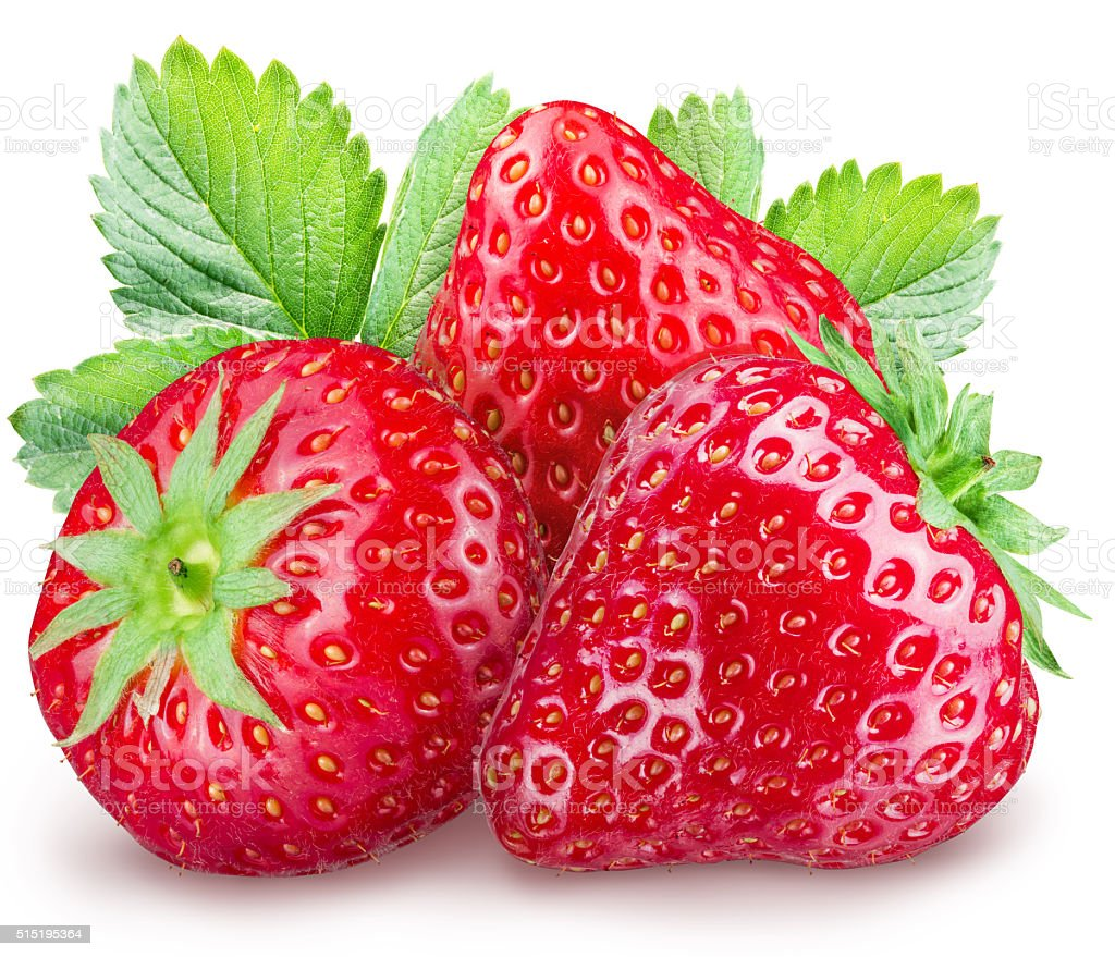 Strawberries on the white background. stock photo
