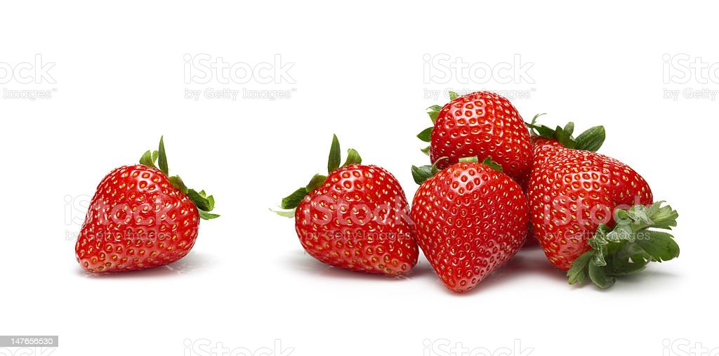 Strawberries on white background stock photo