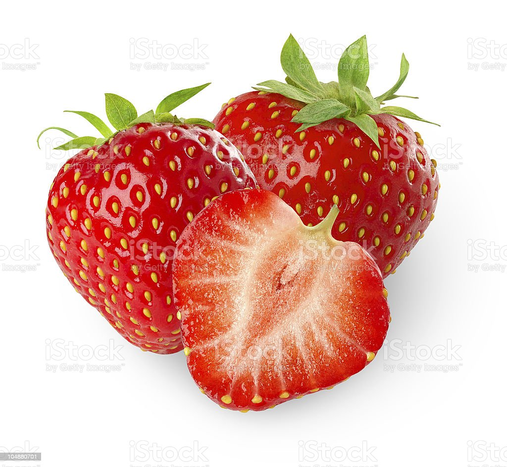 Strawberries over white background stock photo