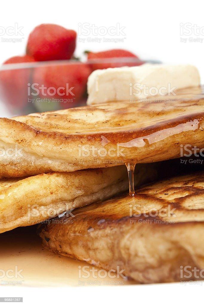 strawberries & pancakes stock photo