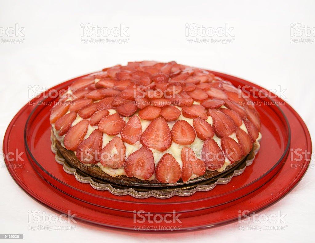 strawberries pie stock photo