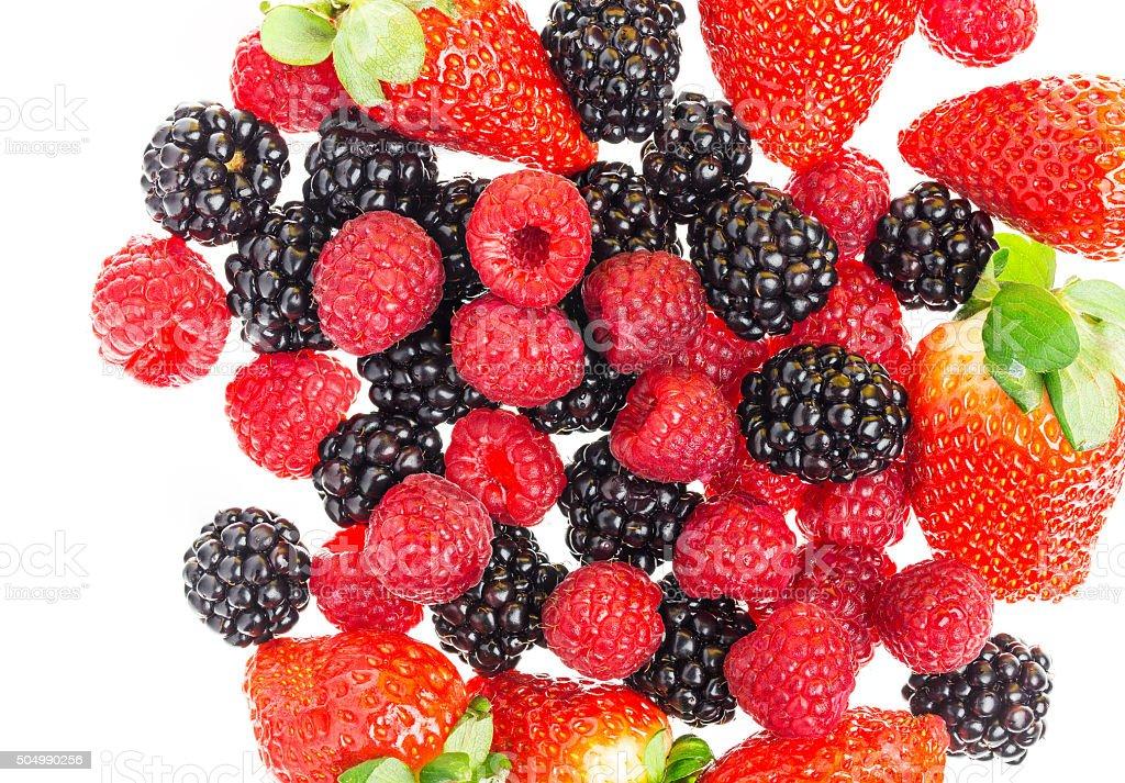 Strawberries, raspberries and blackberries royalty-free stock photo