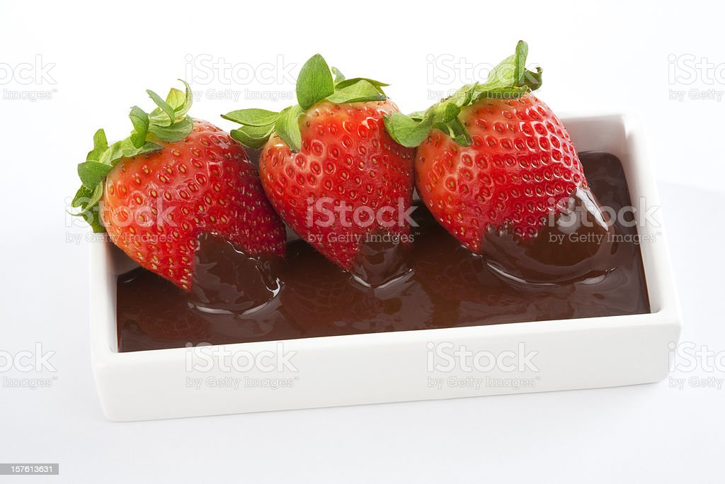 Strawberries with chocolate stock photo