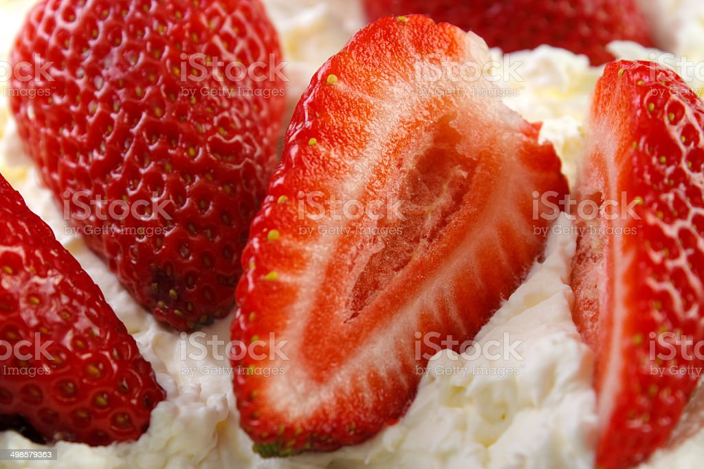 Strawberries with cream royalty-free stock photo