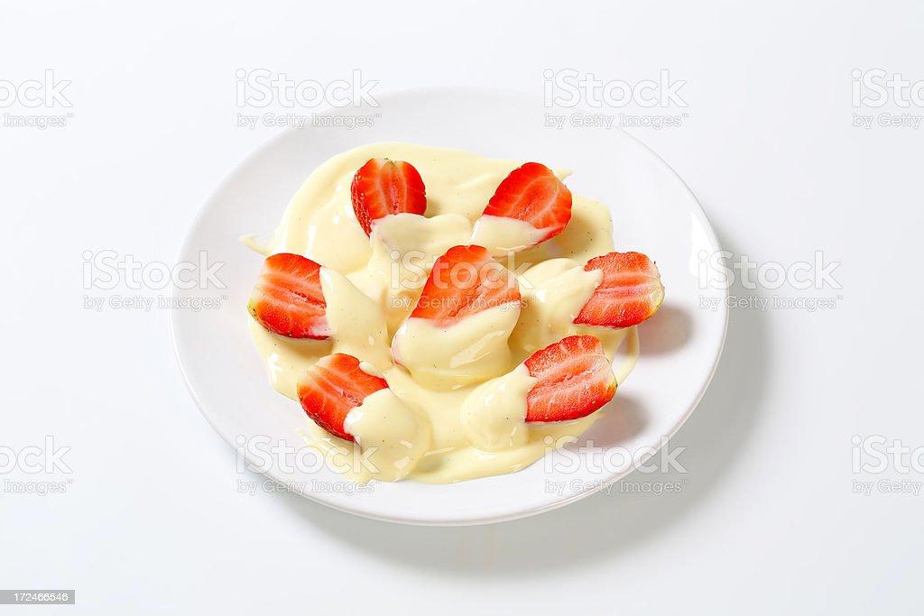 strawberries with vanilla cream stock photo