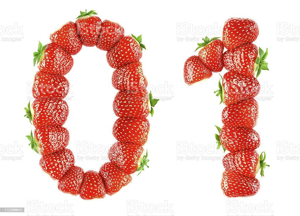 Strawberry alphabet - 0 1 stock photo